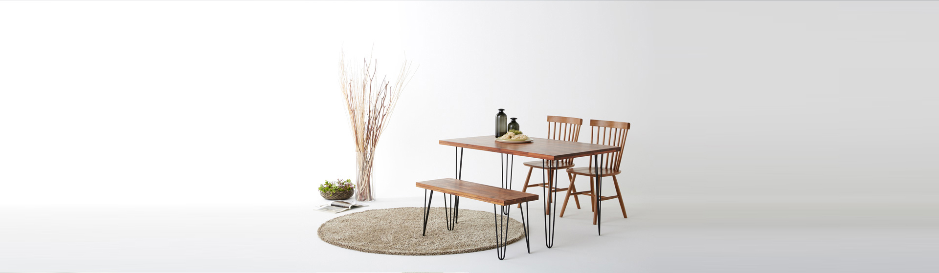 Hairpin Legs Table and Bench